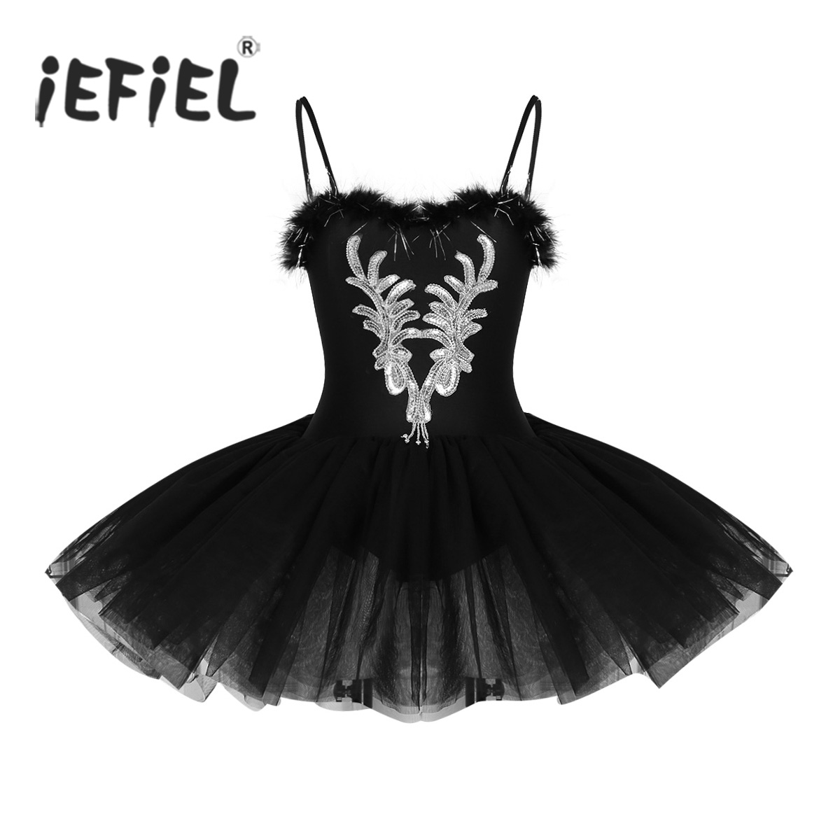 Women Adult Swan Lake Costumes Ballet Dress Spaghetti Strap Sleeveless Sequined and Beads Flower Leotard Tutu Dancewear Dress