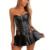Más Tamaño 6XL negro Las Mujeres la Ropa Interior atractiva ahueca hacia fuera el vestido corsés y bustiers corsé de Cuero de Imitación ramillete CO36