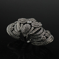 LYCOON Black KNUCKLE RING Austria CZ Cubic Zirconia Rings women luxury exaggerate punk Party ring black and silver two color
