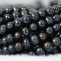Elegant women jewelry 7-8mm natural black freshwater pearl round fit making Charms necklace bracelet loose beads 15inch B1339