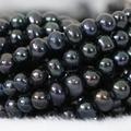 Mujeres elegantes de la joyería 7-8mm natural negro de agua dulce perla redonda apta que hace Encantos collar pulsera perlas sueltas 15 pulgadas B1339