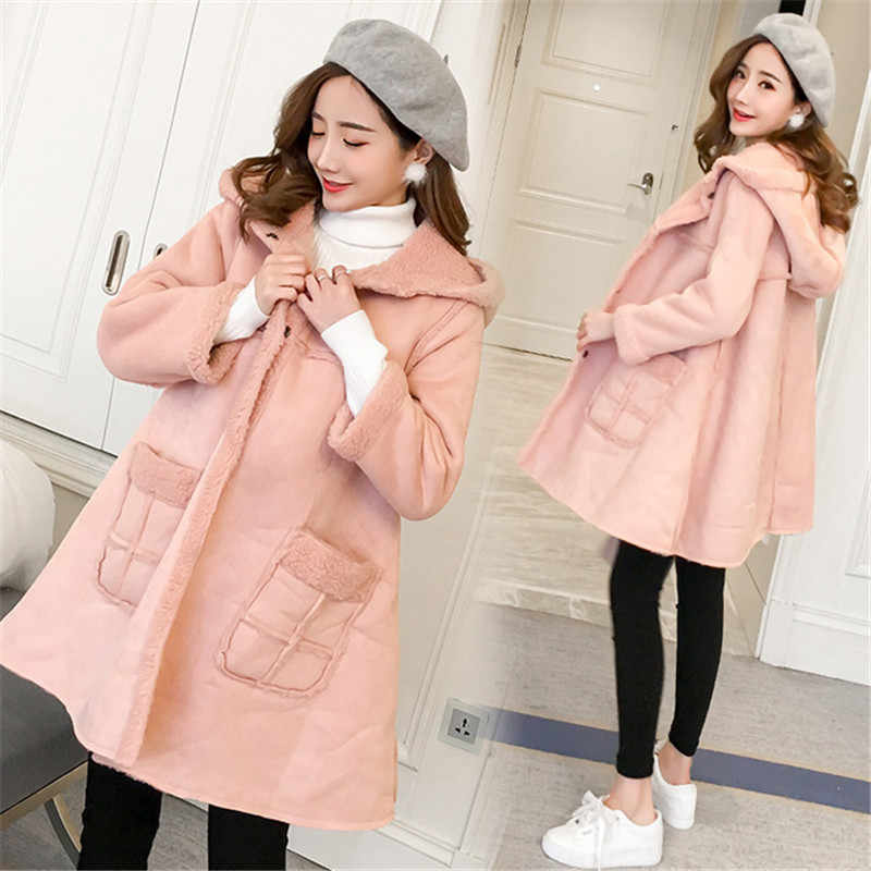 Pink Velvet Maternity Jackets Hooded Loose Long Coats Clothes for Pregnant Women Autumn Winter Pregnancy Outwear With Pocket