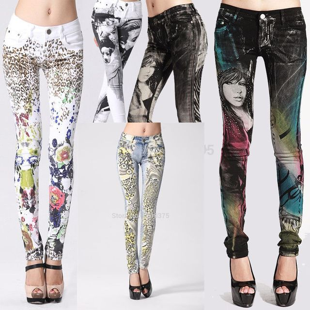 2017 New Stylish Fancy Gothic Elastic Jeans Woman ,Womens Sexyclub Painted Jean -1175