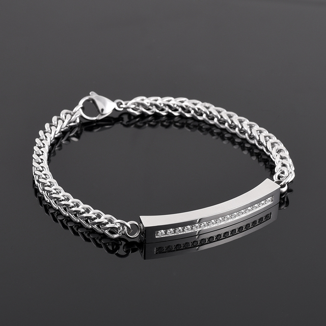 Ijb5027 Whole Reatil Cremation Bracelets Man Stainless Steel Luxury Rhinestone Memorial Ashes Urns Charm Jewelry Bangles