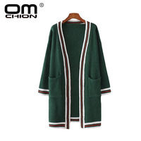 OMCHION Cardigans Feminino 2017 Autumn Winter Sweater Women Hit Color Long Cardigan Long Sleeve Oversized Knitted