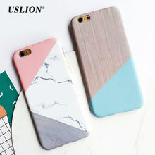 USLION For iPhone 7 Geometric Stitching Marble Stone Case Hard PC Phone Cover Back Case Capa Coque For iPhone7 6 6s Plus 5 5S SE