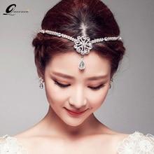 Headpiece Tiara Hair-Accessories Crown Bridal-Headdress Pearl Jewelry Forehead Wedding