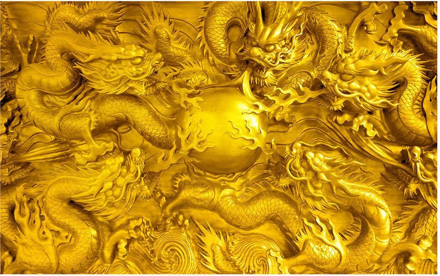 3d обои для комнаты, резьба по камню, золотой дракон, Настенные обои для гостиной, 3d обои