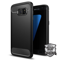 5 5 Original Rugged Armor Case For Galaxy S7 Edge Carbon Fiber Texture Flexible Soft Cases
