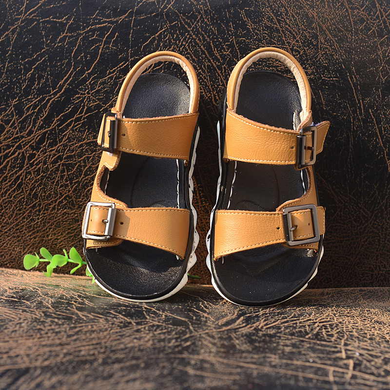 Летние туфли из натуральной кожи детские сандалии мальчиков обувь дети в рыбацком стиле детские пляжные сандалии Бесплатная доставка ...