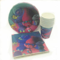 40pc Set Trolls Theme Cup Plate Napkin Party Supplies For Boys Shower Event Party Decorations Trolls