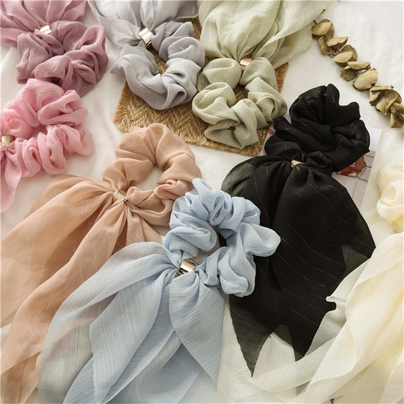 Woman Solid Chiffon Scrunchies Ribbon Hair Ties Rings Girls Hair Rope Gum Women Hair Accessories Ponytail Holders Headwear