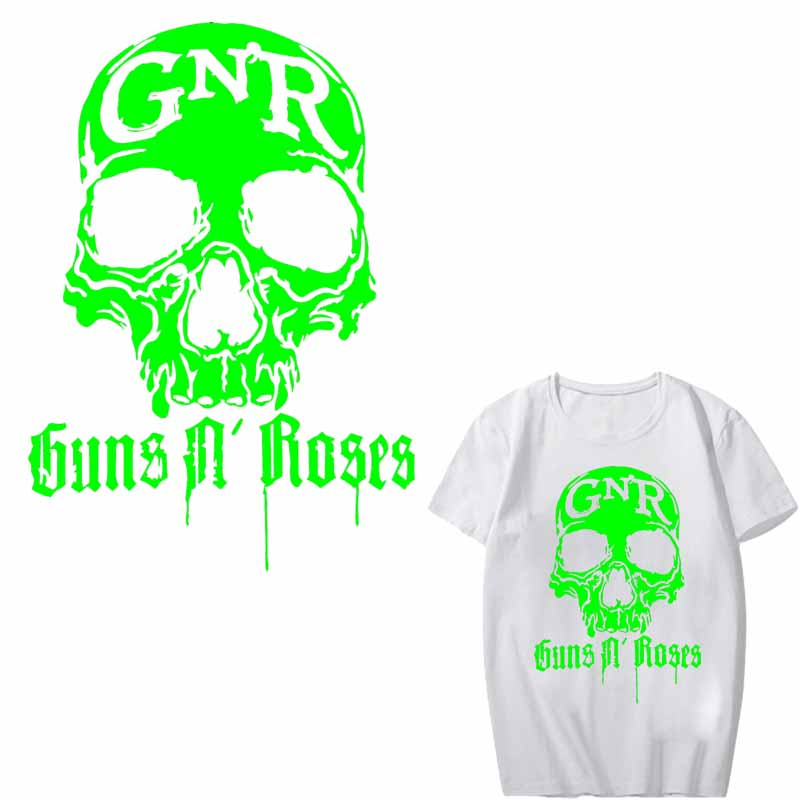 Glow In The Dark Luminous Guns N Roses Patch Iron on Transfers for Clothing DIY Applique Heat Transfer Vinyl Skull Band Stickers in Patches from Home Garden