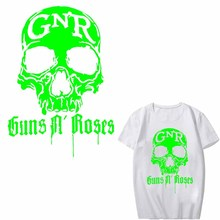 Glow In The Dark Luminous Guns N Roses Patch Iron on Transfers for Clothing DIY Applique Heat Transfer Vinyl Skull Band Stickers