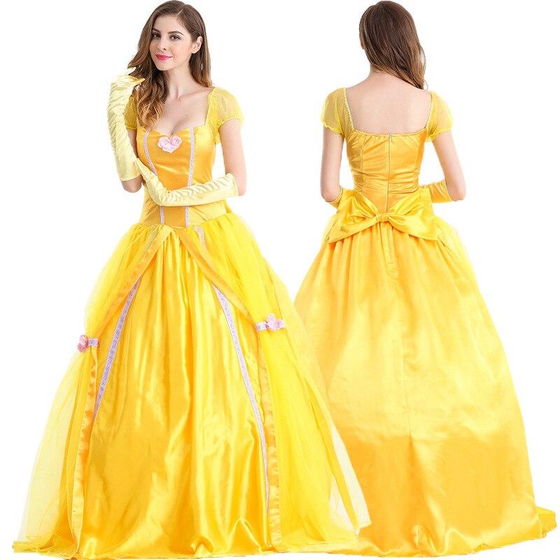 Маскарадные костюмы из фильма «Красавица и Чудовище» для взрослых, костюм Адама принца/маска для мужчин, платье принцессы Белль, карнавальные вечерние костюмы на Хэллоуин - Цвет: belle Dress
