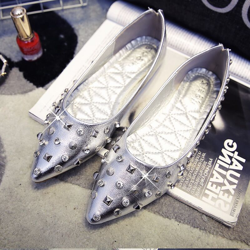 Free shipping spring font b women s b font fashion pointed toe rivets shallow mouth flat