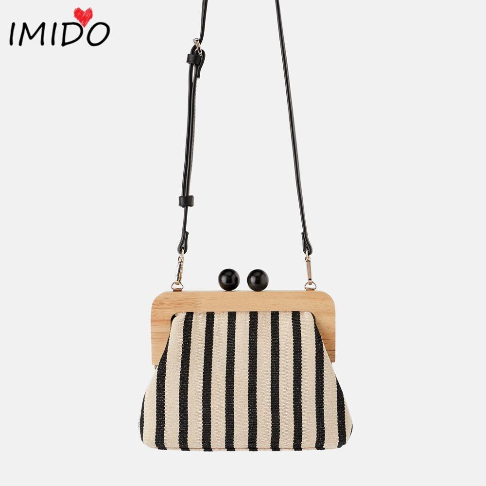 Canvas Handbags Clip-Bags Crossbody-Bag Wooden Vintage Women Messenger Striped Luxury Brand