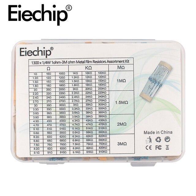 1300 pcs 1/4 w 1% Valores * 130 pcs 1ohm-3M 10 Kit Resistores ohm Resistor de Filme de Metal conjunto pacote Unidade Eletrônica resistor amostra