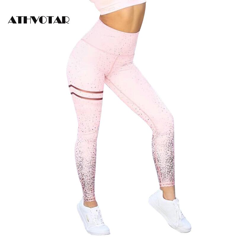 ATHVOTAR Sexy Push Up Fitness Workout Leggings Women Transparent Metallic Foil Print Leggings Workout Sexy Ladies Pants(China)