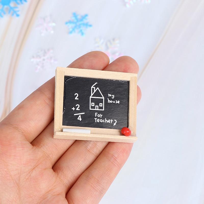 1pc 1:12 Wooden Mini Chalkboard Model Dollhouse Miniatures  Accessories DIY Children's Room Accessories Small Blackboard