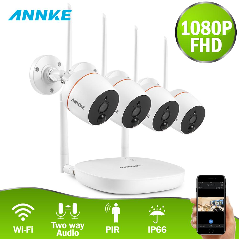 ANNKE 4CH 1080P Wireless Video Security System WiFi Mini NVR With 4PCS IP PIR Camera SD Card Recording CCTV Surveillance Kit(China)