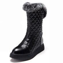 แฟชั่นผู้หญิงฤดูหนาวหิมะบู๊ทส์full grainหนังสูงบนเพลาอุ่นให้กลางลูกวัวบู๊ทส์รอบนิ้วเท้าตุ๊กตารองเท้าGN23