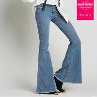 2019 Vintage Low Waist Elastic Flare Jeans Women Retro Style Bottom Skinny Jeans Female Dark Blue Wide Leg Denim Pants gx74