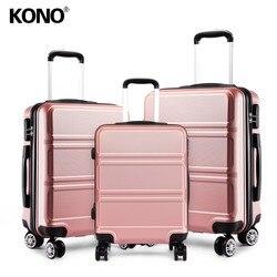 KONO Koffer Gepäck Kabine Tragen auf Trolley Roll Hand Reisetasche 4 Räder Spinner Hardside ABS 20 24 28 zoll Set K1871L