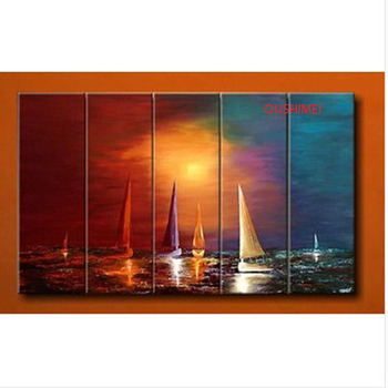 100% Hand Painted Sailing Boat Painting 5 Panel Oil Painting Wall Art Abstract Seascape Painting Home Decor Sunrise Landscape