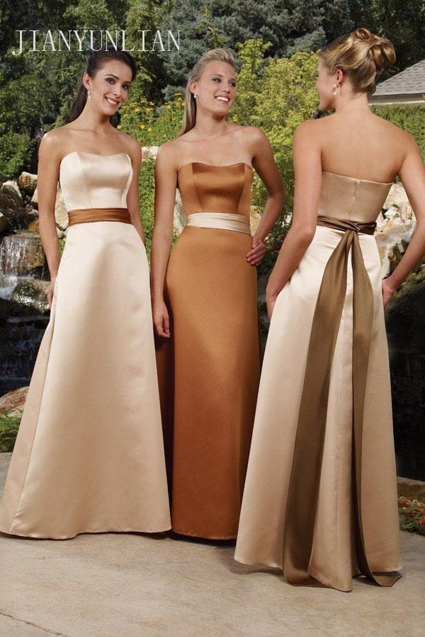 Free Shipping Elegant Designer 2018 Elegant A-Line Strapless Satin Champagne   Bridesmaid     Dresses