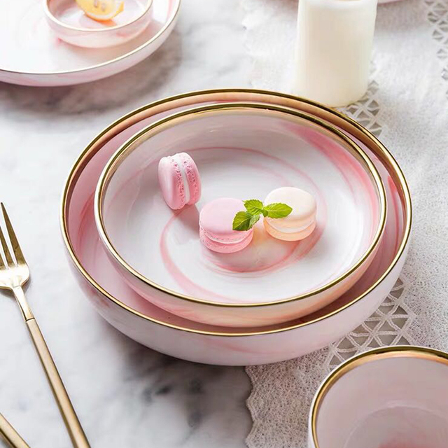 Pink Marble with Gold Edge Ceramic Plate and Bowl 8 styles 1pc