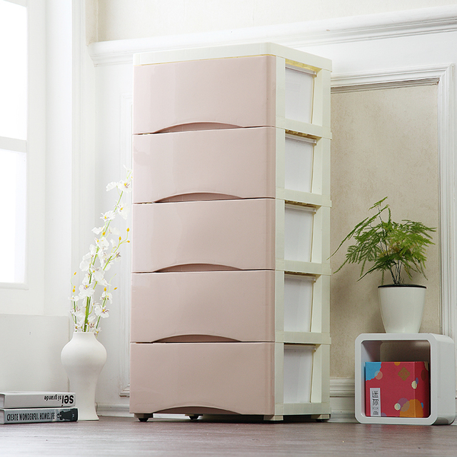Simple style Drawer storage cabinets DIY Assembly wardrobe storage box save space Moveable solid color plastic & Simple style Drawer storage cabinets DIY Assembly wardrobe storage ...