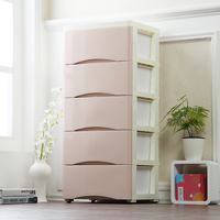 Simple style Drawer storage cabinets DIY Assembly wardrobe storage box save space Moveable solid color plastic cloest