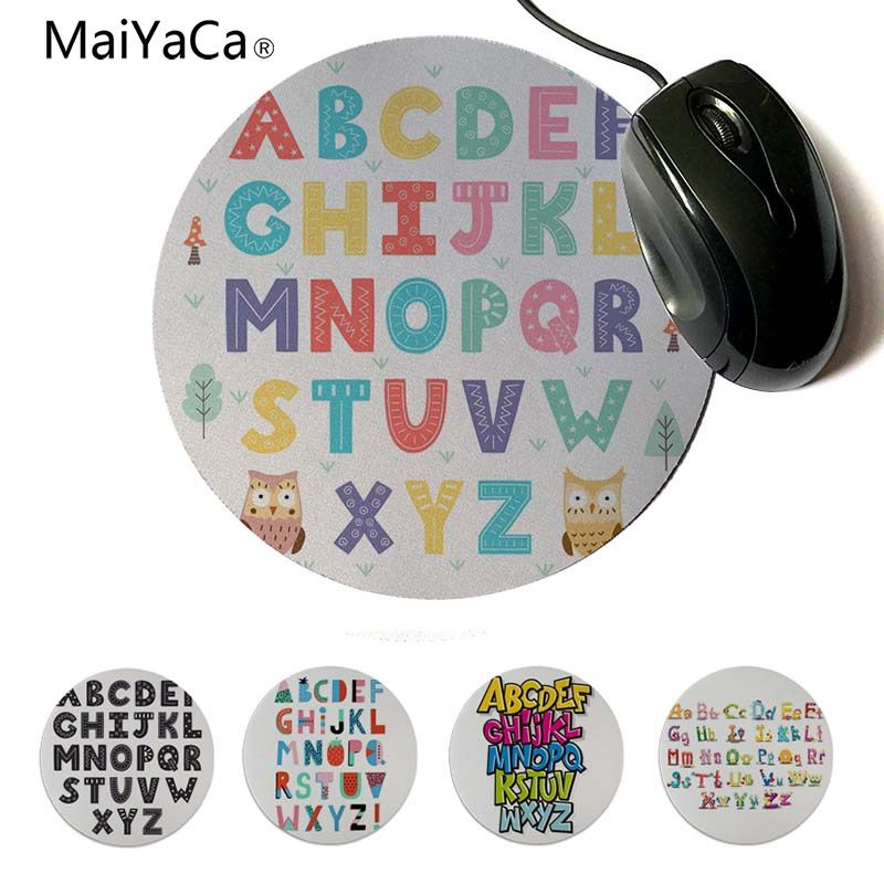 MaiYaCa Your Own Mats Baby Learing Letters Funny Alphabet Rubber Pad to Mouse Game Round mouse pad 22x22cm 20x20cm