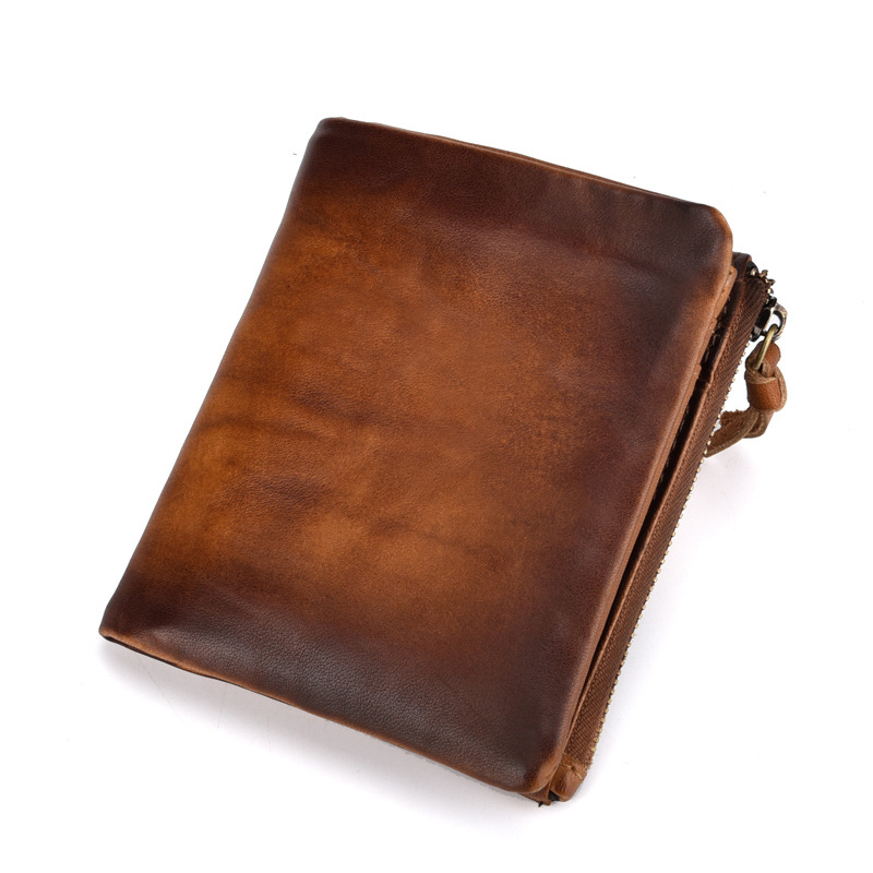 2018 Vintage Genuine Cow Leather Men Wallet Fashion Coin Pocket Zipper Organizer Wallets High Quality Male Card ID Holder genuine cow leather vintage men wallet fashion zipper