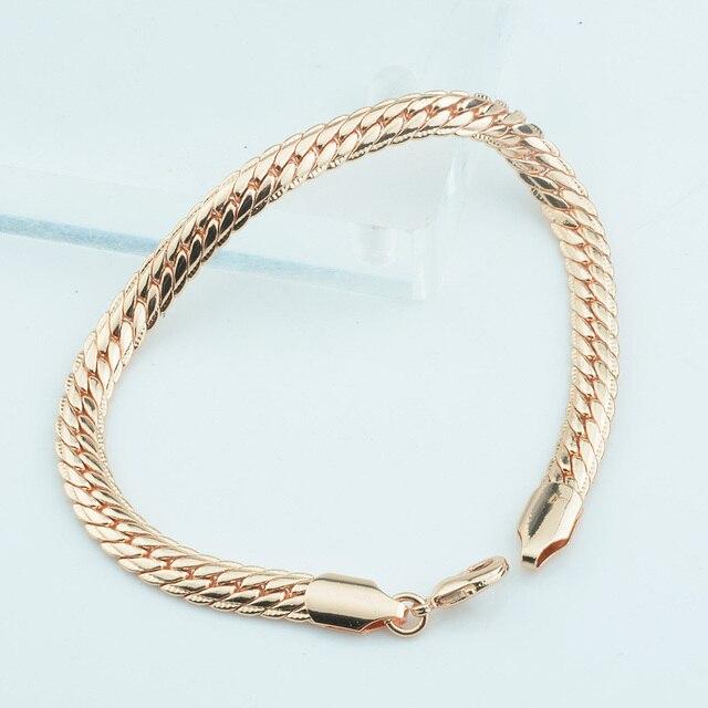 2f6a7a9f59a6 Hombre mujer 6mm Real Rose oro Color lleno pulsera brazaletes cadena en  espiga moda