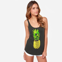 Summer Women Print Pineapple Vest Tank Tops Womens Workout Tank Tops