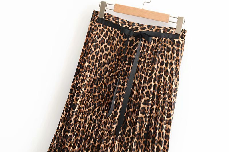 2019 Leopard Pleated Skirt with Bow Belt High Street Women Animal Print Midi Skirts 16