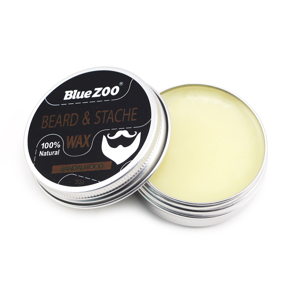 New 1 Box 30g Natural Organic Facial Beard Wax Beard Care Cream Tasteless Sandalwood Orange Eucalyptus 4 Taste Choice TSLM2 2