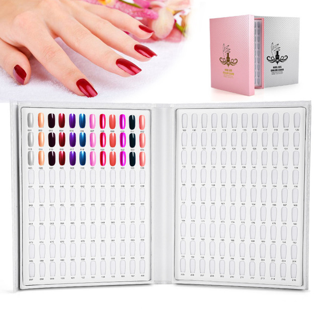 216 Colors Nail Gel Polish Display Chart Salon Color Card Practic Book Art Showing Shelf Tool