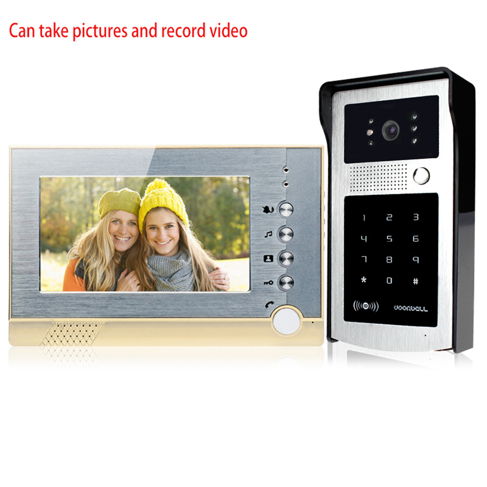 Video Intercom Door Phone System 7'' Color Monitor Screen Take Picture SD Card With RFID Keypad Access Control Outdoor Camera video intercom door bell system 7 sd card indoor monitor recording video rfid card reader access control outdoor camera 4 keys