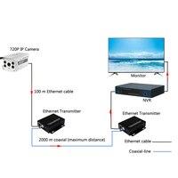 Ethernet удлинитель по коаксиальный конвертер 2 км для ip-камер IP видео передатчик по коаксиальному кабелю
