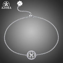 AZORA Circle Flower Clear Cubic Zirconia Adjustable Slide Chain Bracelet Lady Charming Small Bracelet Party Jewelry Gift TS0185(China)