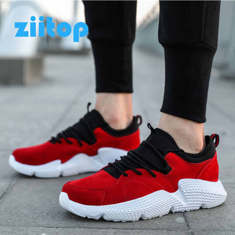 Fashion Red Shark Sneakers Men Pig Leather Running Shoes Male Athletic Jogging Sneakers Breathable Mesh Shoes Zapatillas Hombre