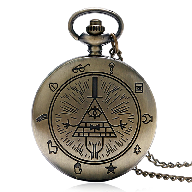 Cartoon Pocket Watch Gravity Fall Bill Cipher Pyramid Symbol Pendant Necklace Cute Fob Watches Clock Best Gift for Children Fans new fashion bill cipher gravity falls quartz pocket watch analog pendant necklace men women kid watches chain gift retro vintage