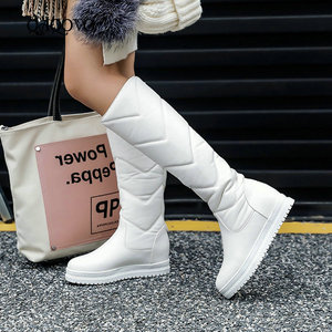 Image 1 - חורף חם קטיפה הברך גבוהה מגפי נשים קומפי שטוח העקב מגפי שלג להחליק על פלטפורמת אישה ארוך מגפי נעליים שחור ורוד לבן 2019