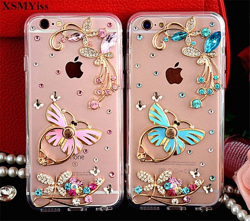 XSMYiss Handmade Bling Rhinestone Flower Butterfly Ring Holder Soft Phone Case For Huawei P8 P9 P10 P20 Lite Plus Mate 7 8 9 10