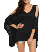 Oversized Women T Shirts Off Shoulder V Neck Three Quarter Batwing Sleeve Solid Loose Casual Long