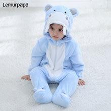 цены Baby Jumpsuit Animal Cute Hippo Costume Newborn Boy Girl Romper Zipper Hooded Winter Clothes kids Infant Onesie Long Sleeve Suit