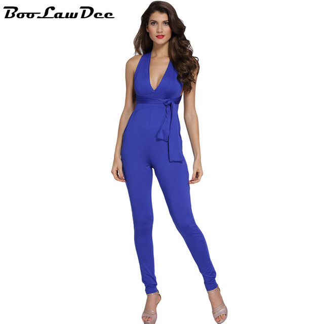 BooLawDee Deep V neck bandage halter women jumpsuit multiway sleeveless backless high waist pencil cuff pink blue S M L 1B206